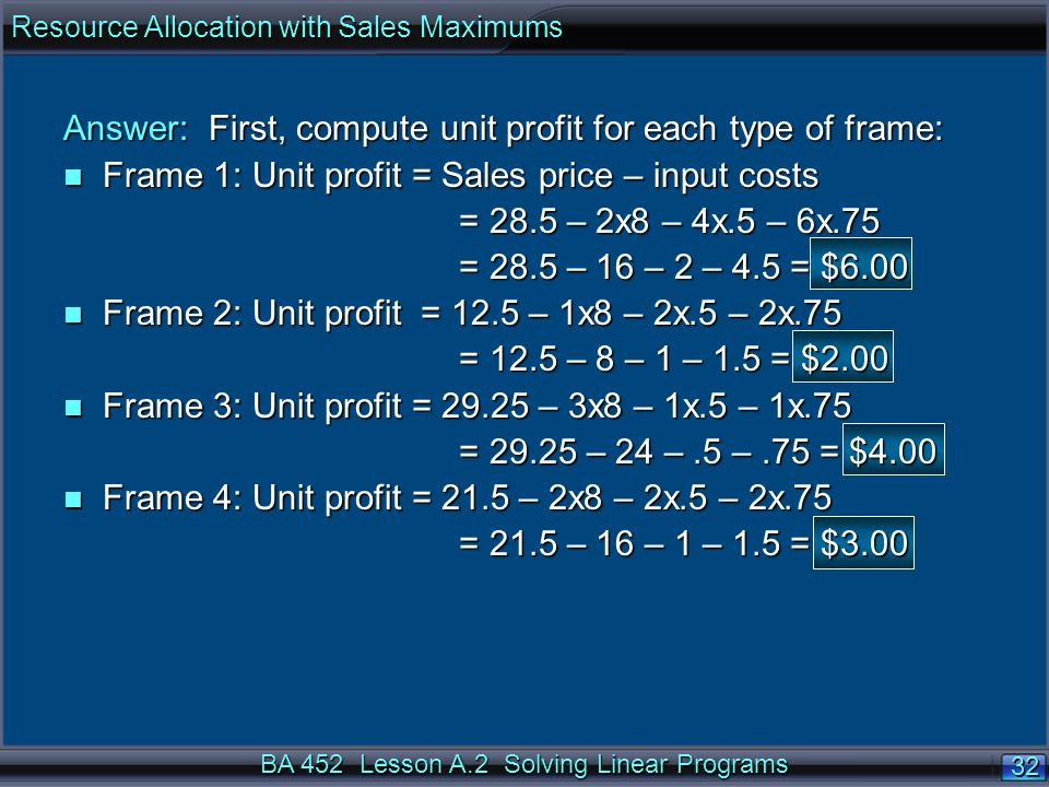 BA 452 Lesson A.2 Solving Linear Programs 32 Answer: First, compute unit profit for each type of frame: n Frame 1: Unit profit = Sales price – input costs = 28.5 – 2x8 – 4x.5 – 6x.75 = 28.5 – 2x8 – 4x.5 – 6x.75 = 28.5 – 16 – 2 – 4.5 = $6.00 = 28.5 – 16 – 2 – 4.5 = $6.00 n Frame 2: Unit profit = 12.5 – 1x8 – 2x.5 – 2x.75 = 12.5 – 8 – 1 – 1.5 = $2.00 = 12.5 – 8 – 1 – 1.5 = $2.00 n Frame 3: Unit profit = 29.25 – 3x8 – 1x.5 – 1x.75 = 29.25 – 24 –.5 –.75 = $4.00 = 29.25 – 24 –.5 –.75 = $4.00 n Frame 4: Unit profit = 21.5 – 2x8 – 2x.5 – 2x.75 = 21.5 – 16 – 1 – 1.5 = $3.00 = 21.5 – 16 – 1 – 1.5 = $3.00 Resource Allocation with Sales Maximums