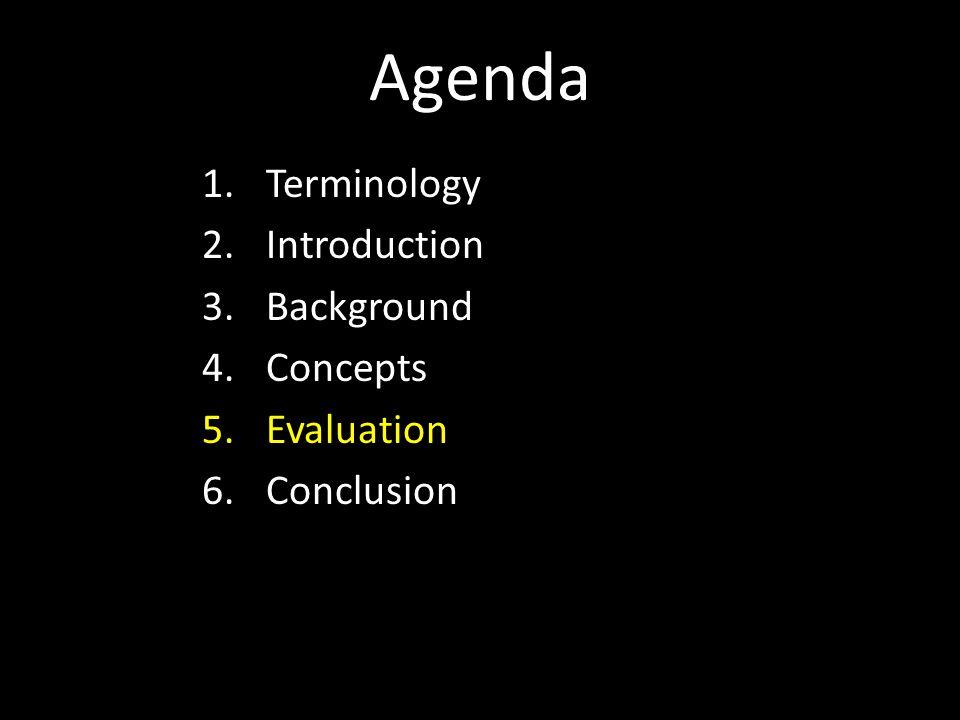 Agenda 1.Terminology 2.Introduction 3.Background 4.Concepts 5.Evaluation 6.Conclusion