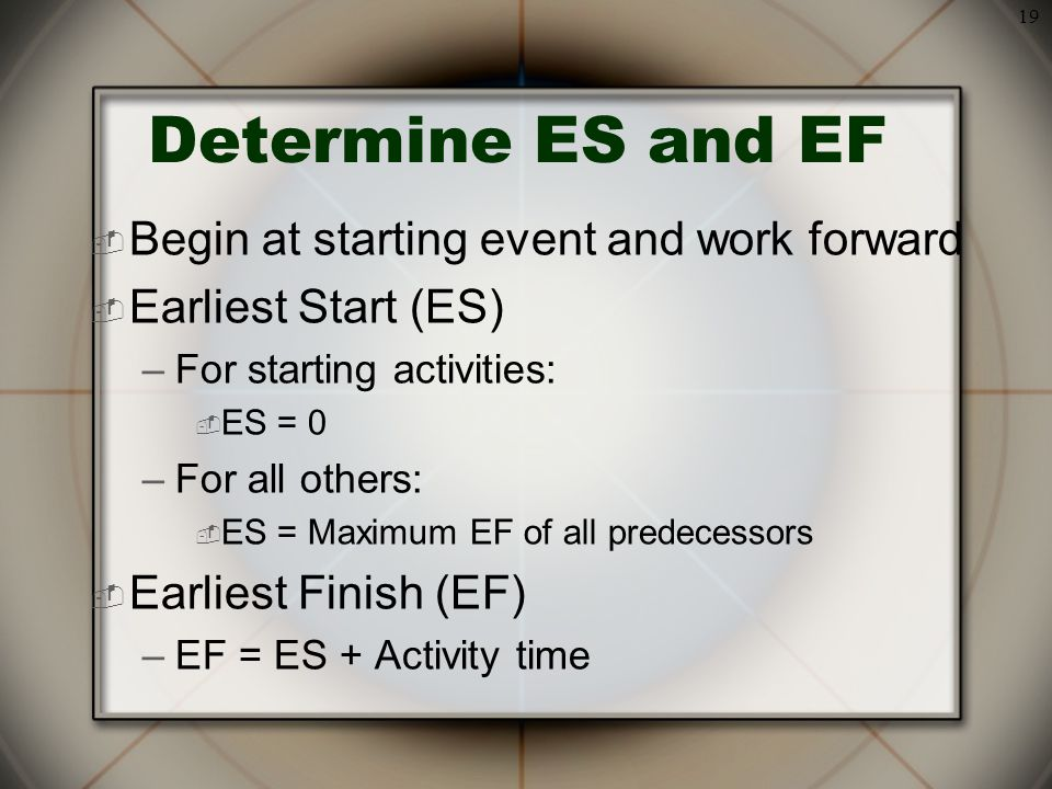 19  Begin at starting event and work forward  Earliest Start (ES) –For starting activities:  ES = 0 –For all others:  ES = Maximum EF of all predecessors  Earliest Finish (EF) –EF = ES + Activity time Determine ES and EF