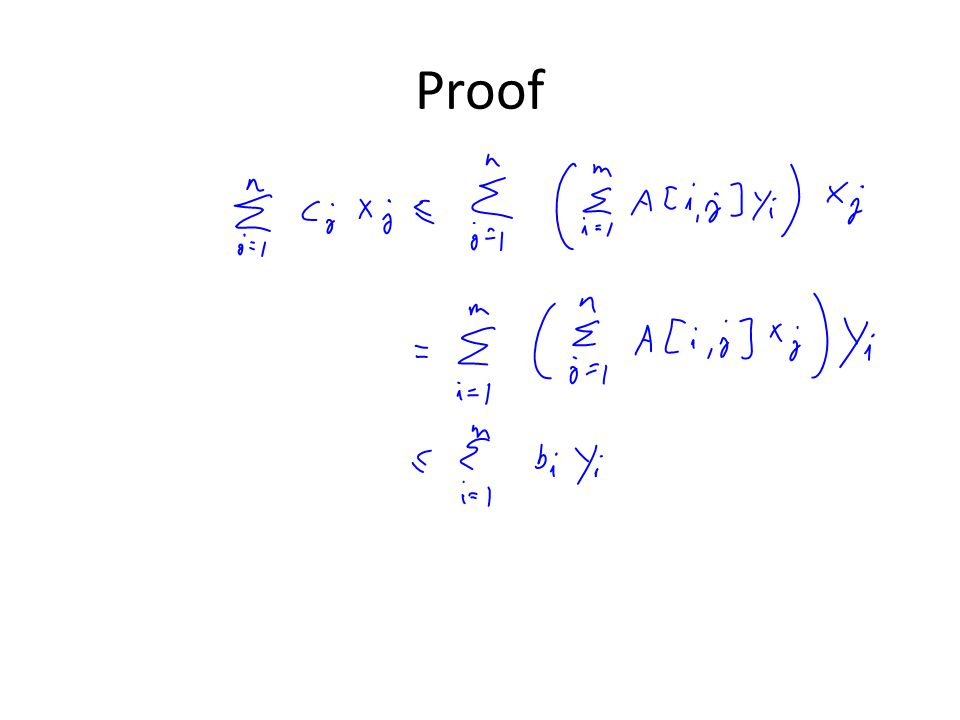 Strong Duality and Optimality Claim: – If  c j x j =  b i y i, and x is feasible for the primal and y is feasible for the dual, then both are optimal Proof: – By weak duality no solution x' of the primal can have larger value than the optimum of the dual.