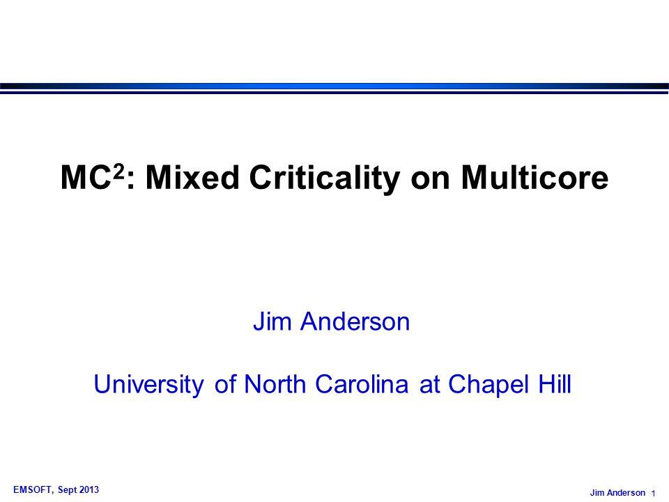 Jim Anderson 32 EMSOFT, Sept 2013 So Far… CE EDF/RM G-EDF Level A Level B Level C Level D Core 1 Core 2 Core 3 Core 4 higher (static) priority lower (static) priority