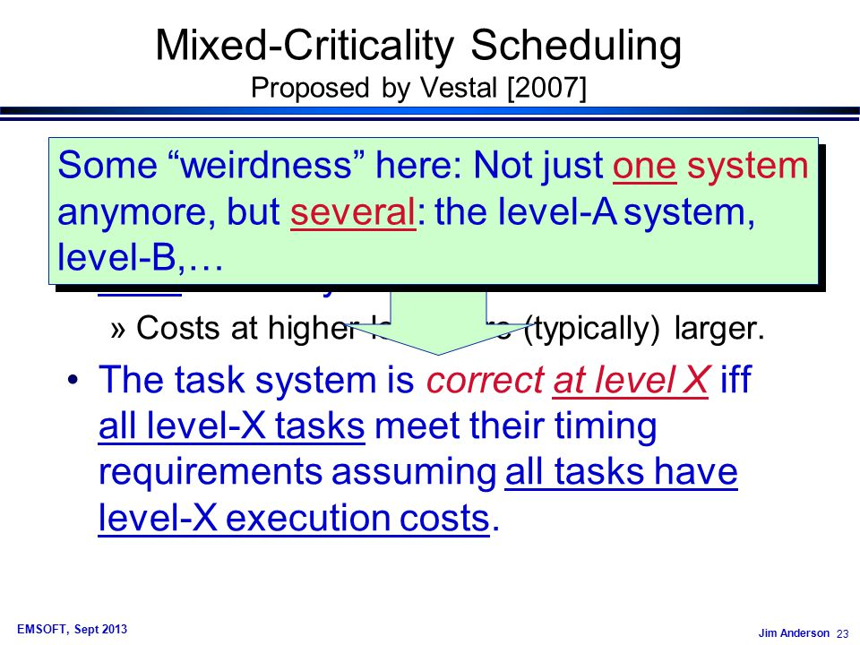 Jim Anderson 23 EMSOFT, Sept 2013 Mixed-Criticality Scheduling Proposed by Vestal [2007] Mixed-Criticality Task Model: Each task has an execution cost specified at each criticality level.
