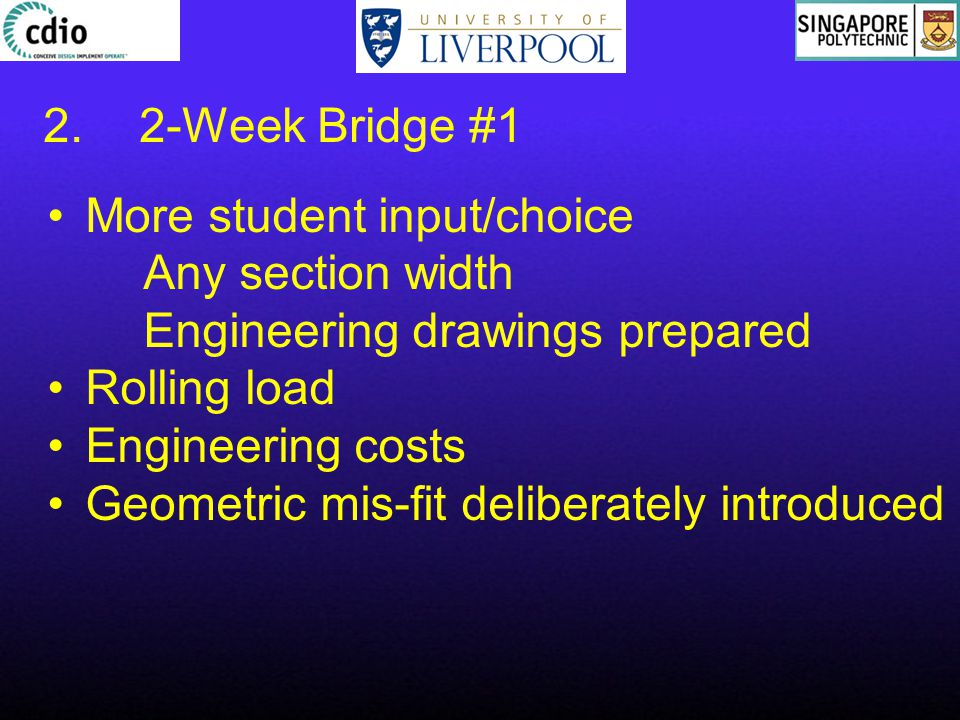 2.2-Week Bridge #1 More student input/choice Any section width Engineering drawings prepared Rolling load Engineering costs Geometric mis-fit deliberately introduced