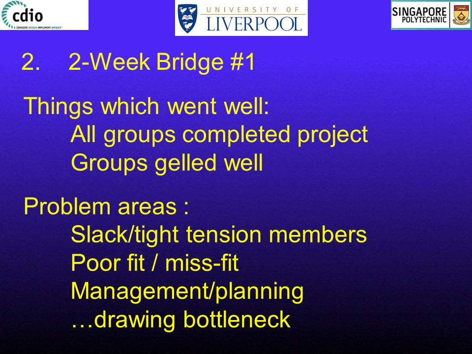 Things which went well: All groups completed project Groups gelled well Problem areas : Slack/tight tension members Poor fit / miss-fit Management/planning …drawing bottleneck 2.2-Week Bridge #1
