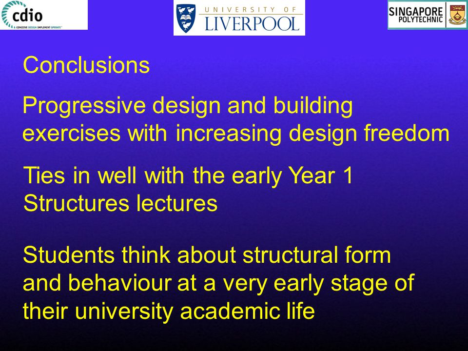 Progressive design and building exercises with increasing design freedom Conclusions Ties in well with the early Year 1 Structures lectures Students think about structural form and behaviour at a very early stage of their university academic life