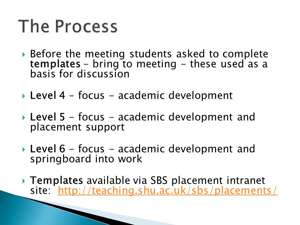  Before the meeting students asked to complete templates - bring to meeting - these used as a basis for discussion  Level 4 - focus - academic development  Level 5 - focus - academic development and placement support  Level 6 - focus - academic development and springboard into work  Templates available via SBS placement intranet site: http://teaching.shu.ac.uk/sbs/placements/http://teaching.shu.ac.uk/sbs/placements/