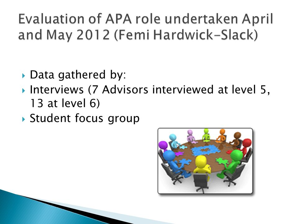  Attendance:  Overall attendance at level 5 - poor  Level 6 - very strong attendance on some modules for meeting 1; attendance at meeting 2 variable; poor attendance on some modules (WBL, PASBD)  Students seemed more likely to attend meetings when:  they had undertaken a placement year  they had a familiar relationship with their APA  meetings were insisted upon by the APA