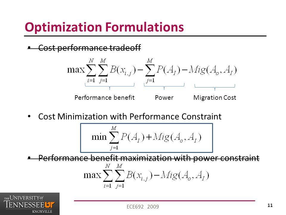 11 ECE692 2009 Optimization Formulations Cost performance tradeoff Cost Minimization with Performance Constraint Performance benefit maximization with power constraint Performance benefitPowerMigration Cost