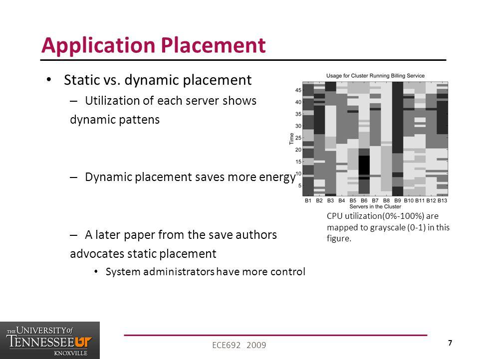 7 ECE692 2009 Application Placement Static vs.