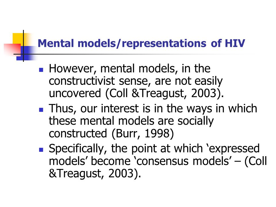 Mental models/representations of HIV However, mental models, in the constructivist sense, are not easily uncovered (Coll &Treagust, 2003).