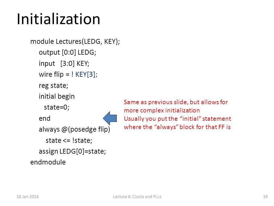 Initialization module Lectures(LEDG, KEY); output [0:0] LEDG; input [3:0] KEY; wire flip = .