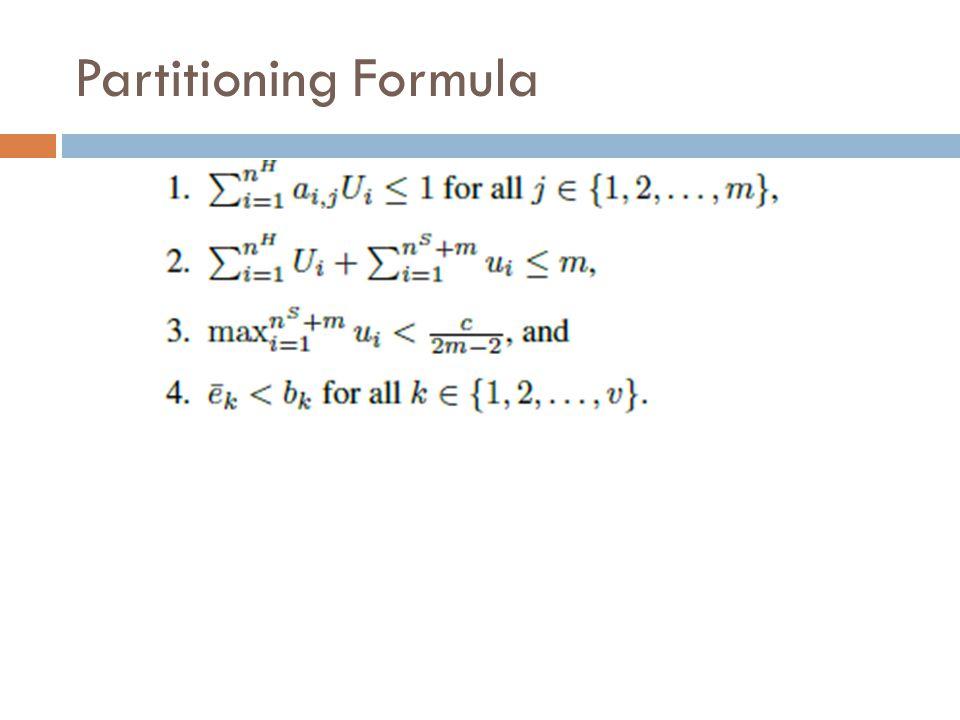 Partitioning Formula