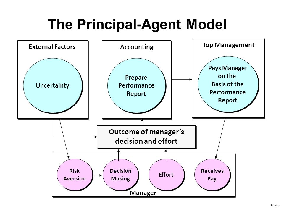 18-13 The Principal-Agent Model Outcome of manager's decision and effort Risk Aversion Decision Making Effort Receives Pay Uncertainty External Factor