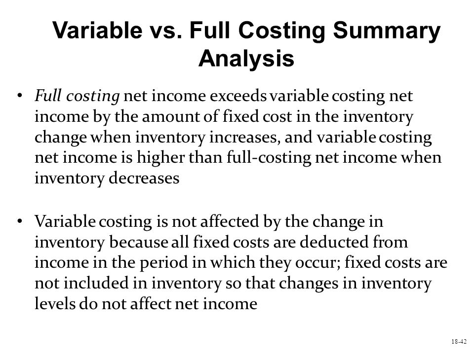 18-42 Variable vs. Full Costing Summary Analysis Full costing net income exceeds variable costing net income by the amount of fixed cost in the invent