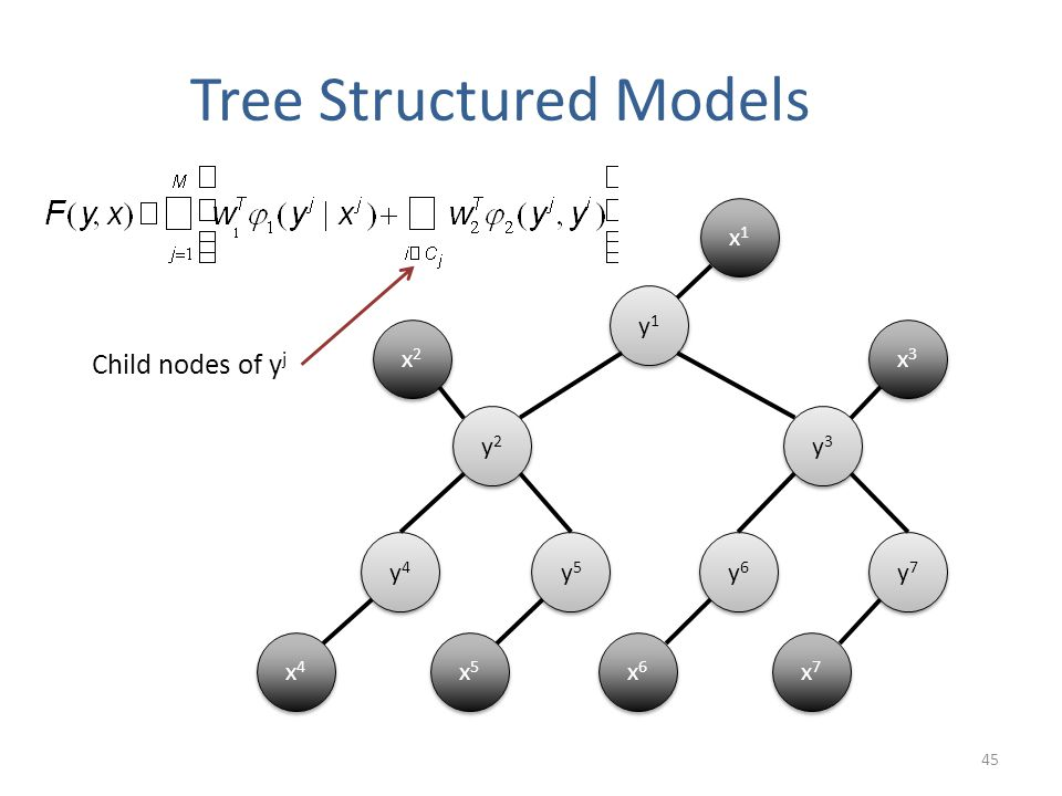 Tree Structured Models 45 x1x1 x1x1 y1y1 y1y1 y2y2 y2y2 y3y3 y3y3 y4y4 y4y4 y5y5 y5y5 y7y7 y7y7 y6y6 y6y6 x3x3 x3x3 x2x2 x2x2 x4x4 x4x4 x5x5 x5x5 x6x6 x6x6 x7x7 x7x7 Child nodes of y j