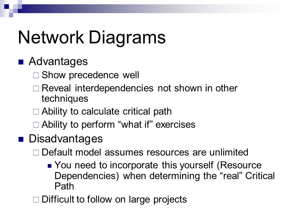 Network Diagrams Advantages  Show precedence well  Reveal interdependencies not shown in other techniques  Ability to calculate critical path  Ability to perform what if exercises Disadvantages  Default model assumes resources are unlimited You need to incorporate this yourself (Resource Dependencies) when determining the real Critical Path  Difficult to follow on large projects