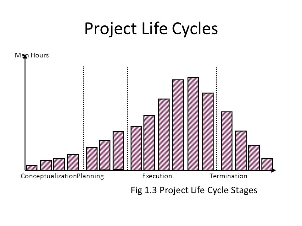 Project Life Cycles Man Hours ConceptualizationPlanningExecutionTermination Fig 1.3 Project Life Cycle Stages