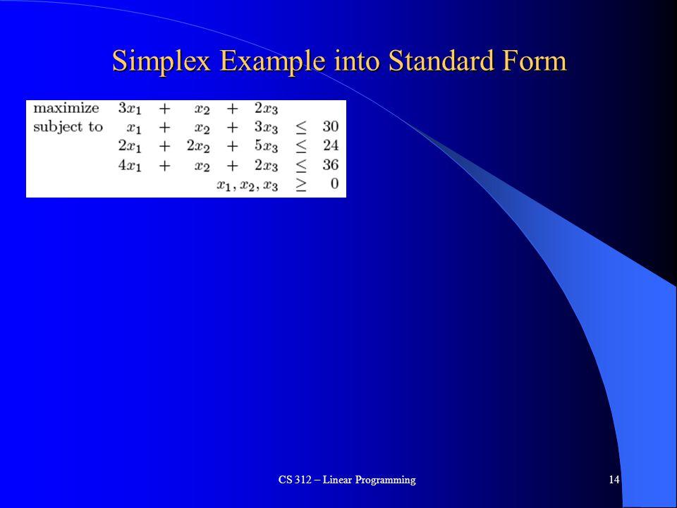Simplex Example into Standard Form CS 312 – Linear Programming14