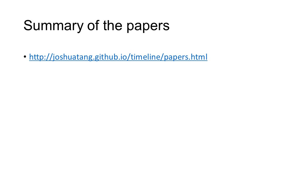 Summary of the papers http://joshuatang.github.io/timeline/papers.html