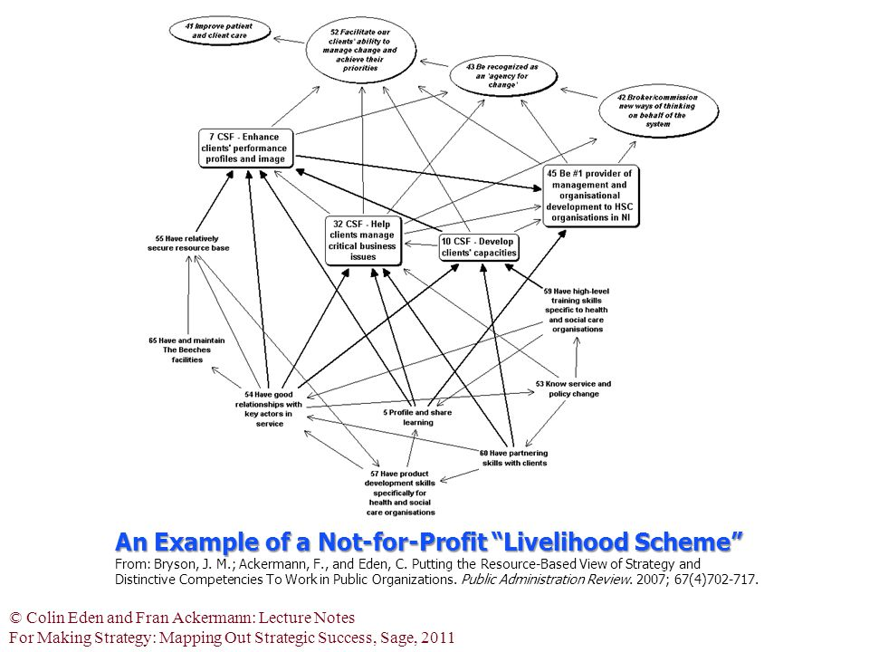© Colin Eden and Fran Ackermann: Lecture Notes For Making Strategy: Mapping Out Strategic Success, Sage, 2011 An Example of a Not-for-Profit Livelihood Scheme From: Bryson, J.