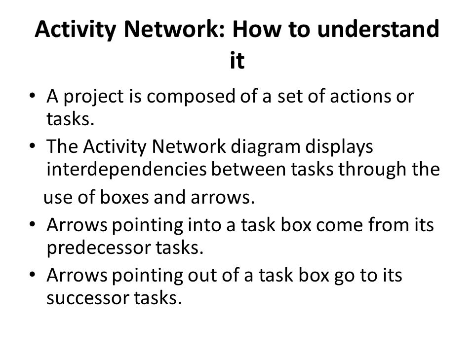 Activity Network: How to understand it A project is composed of a set of actions or tasks.