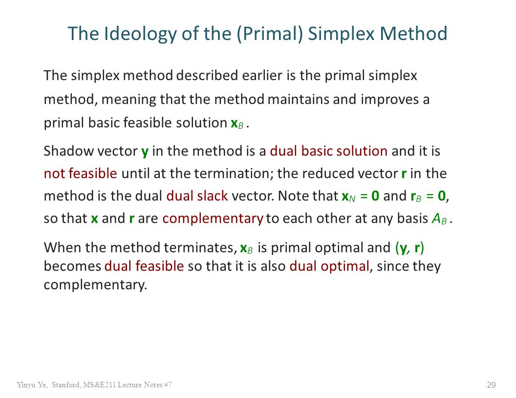 The simplex method described earlier is the primal simplex method, meaning that the method maintains and improves a primal basic feasible solution x B.