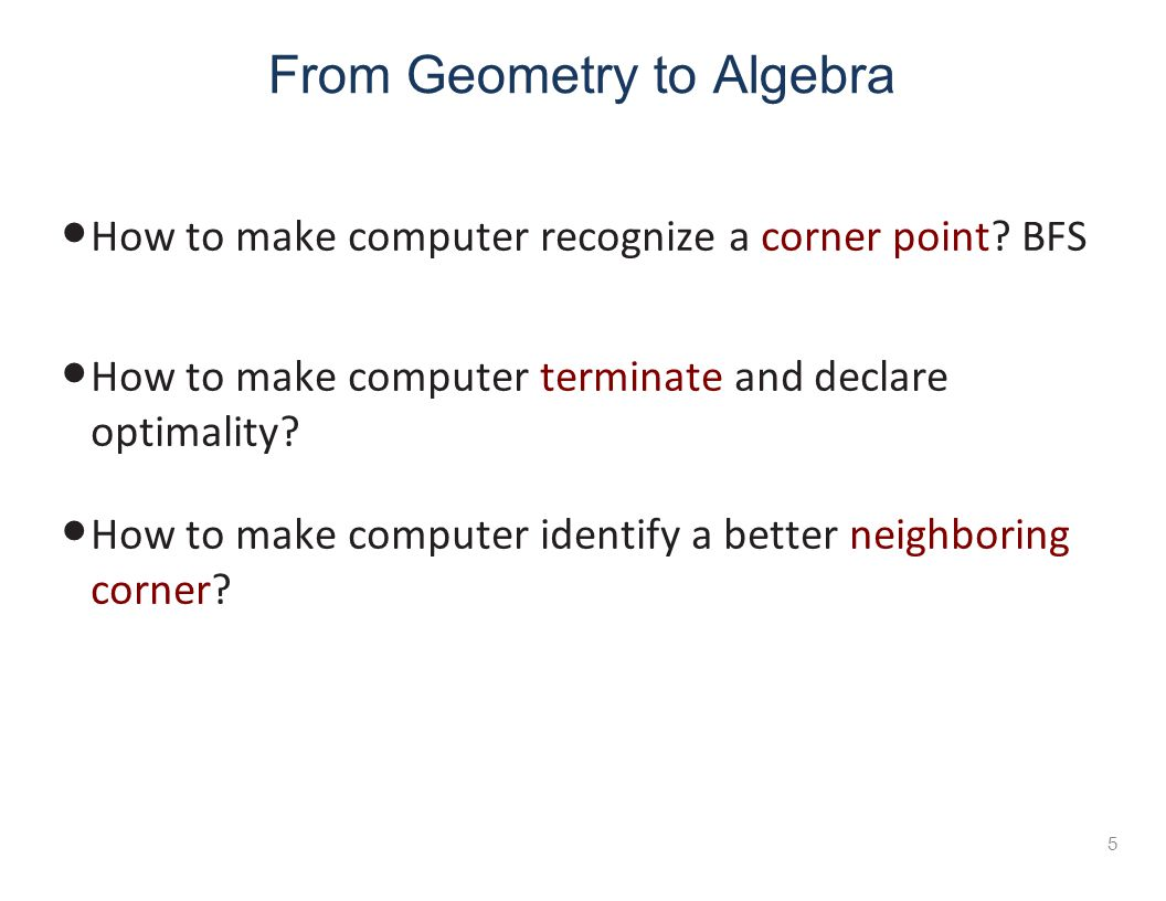 From Geometry to Algebra How to make computer recognize a corner point.