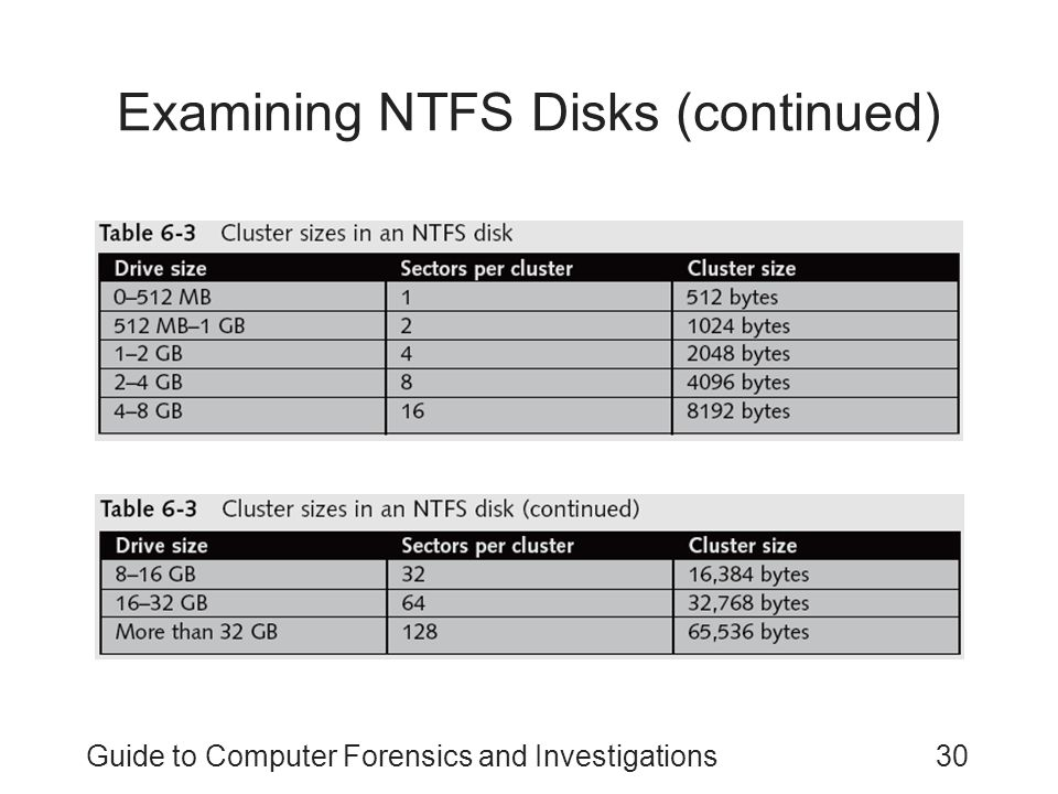 Guide to Computer Forensics and Investigations30 Examining NTFS Disks (continued)