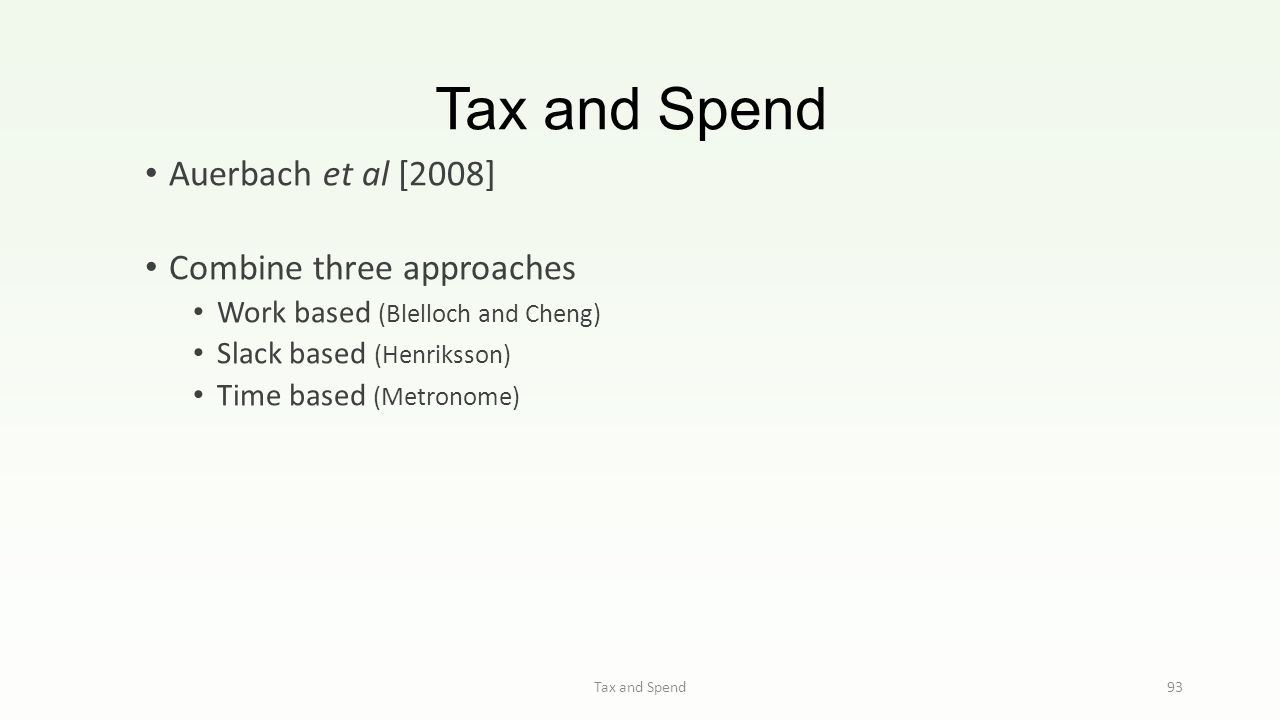 Tax and Spend 93 Auerbach et al [2008] Combine three approaches Work based (Blelloch and Cheng) Slack based (Henriksson) Time based (Metronome)
