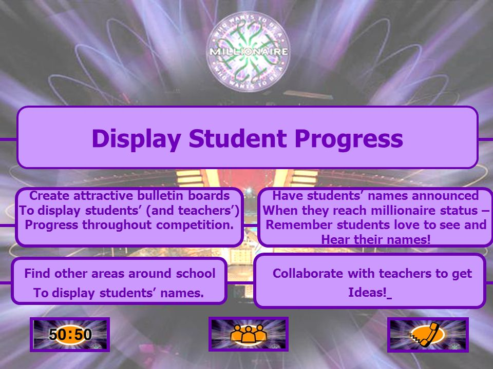 Create attractive bulletin boards To display students' (and teachers') Progress throughout competition.