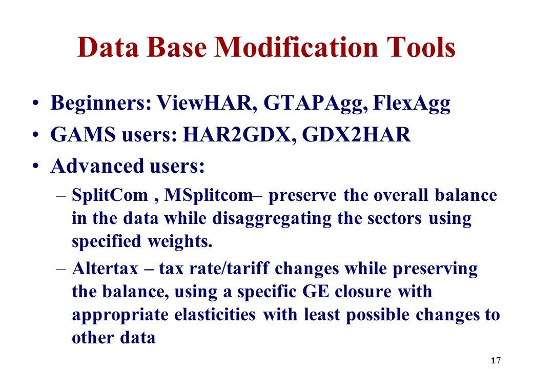 Data Base Modification Tools Beginners: ViewHAR, GTAPAgg, FlexAgg GAMS users: HAR2GDX, GDX2HAR Advanced users: –SplitCom, MSplitcom– preserve the over