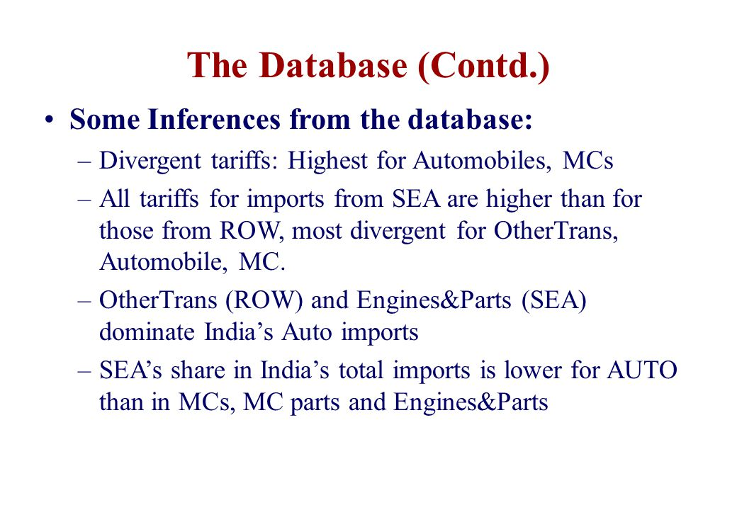 The Database (Contd.) Some Inferences from the database: –Divergent tariffs: Highest for Automobiles, MCs –All tariffs for imports from SEA are higher than for those from ROW, most divergent for OtherTrans, Automobile, MC.