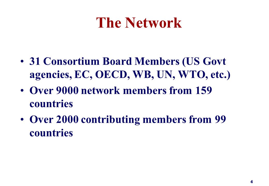 444 The Network 31 Consortium Board Members (US Govt agencies, EC, OECD, WB, UN, WTO, etc.) Over 9000 network members from 159 countries Over 2000 contributing members from 99 countries