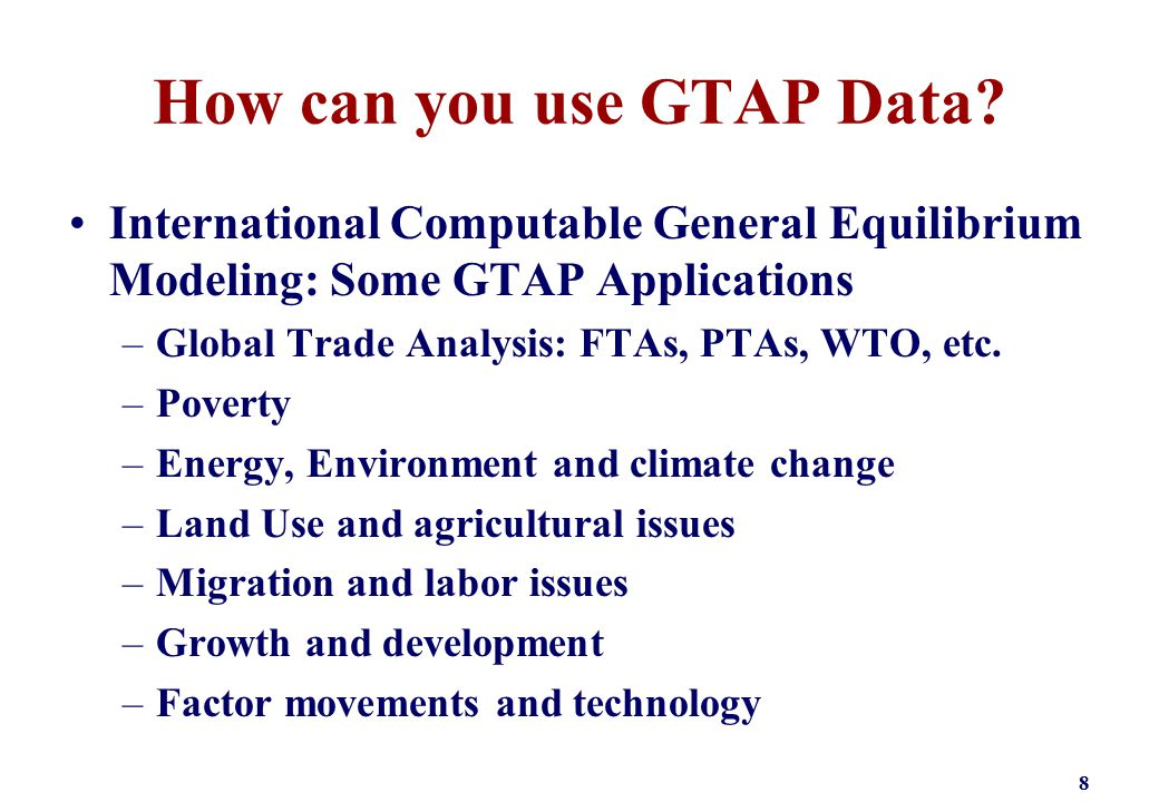 How can you use GTAP Data.