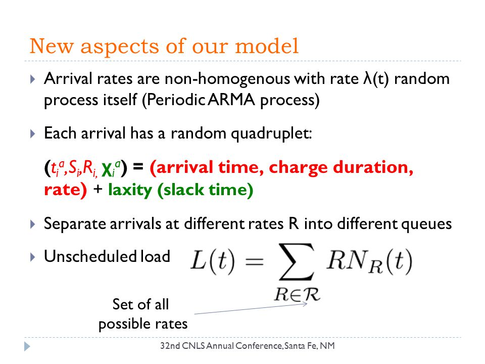 New aspects of our model 32nd CNLS Annual Conference, Santa Fe, NM  Arrival rates are non-homogenous with rate λ (t) random process itself (Periodic