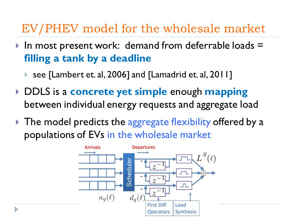 EV/PHEV model for the wholesale market  In most present work: demand from deferrable loads = filling a tank by a deadline  see [Lambert et. al, 2006