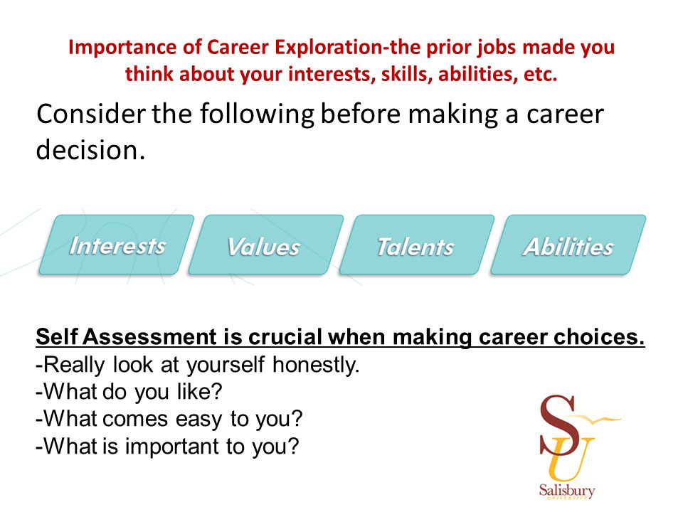Importance of Career Exploration-the prior jobs made you think about your interests, skills, abilities, etc.