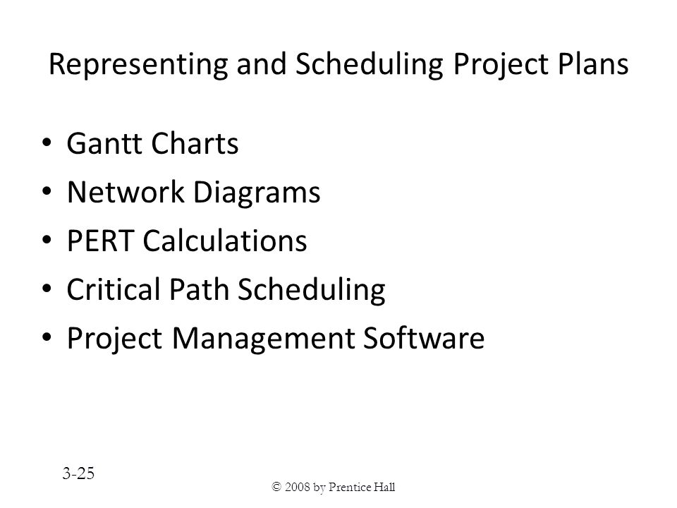 © 2008 by Prentice Hall 3-25 Representing and Scheduling Project Plans Gantt Charts Network Diagrams PERT Calculations Critical Path Scheduling Project Management Software