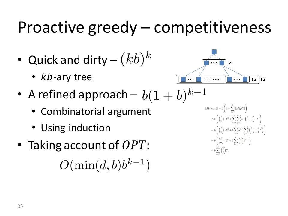 Proactive greedy – competitiveness 33