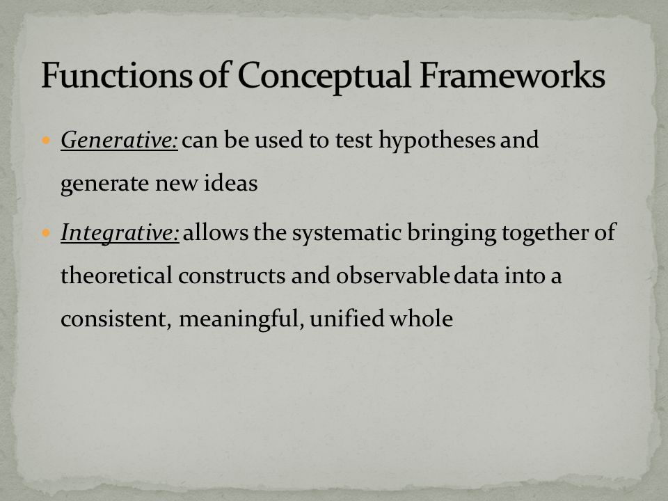 Generative: can be used to test hypotheses and generate new ideas Integrative: allows the systematic bringing together of theoretical constructs and observable data into a consistent, meaningful, unified whole