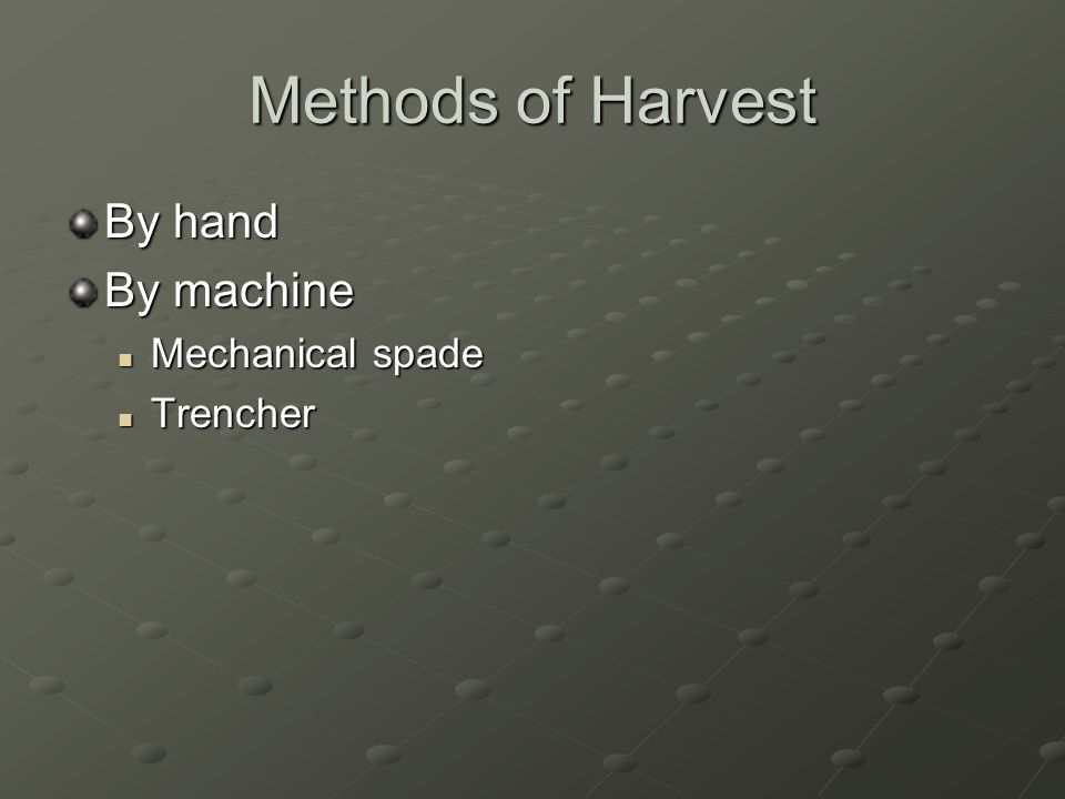 Methods of Harvest By hand By machine Mechanical spade Mechanical spade Trencher Trencher