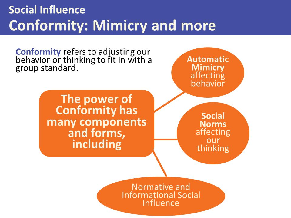 The power of Conformity has many components and forms, including Automatic Mimicry affecting behavior Social Norms affecting our thinking Normative and Informational Social Influence Social Influence Conformity: Mimicry and more Conformity refers to adjusting our behavior or thinking to fit in with a group standard.