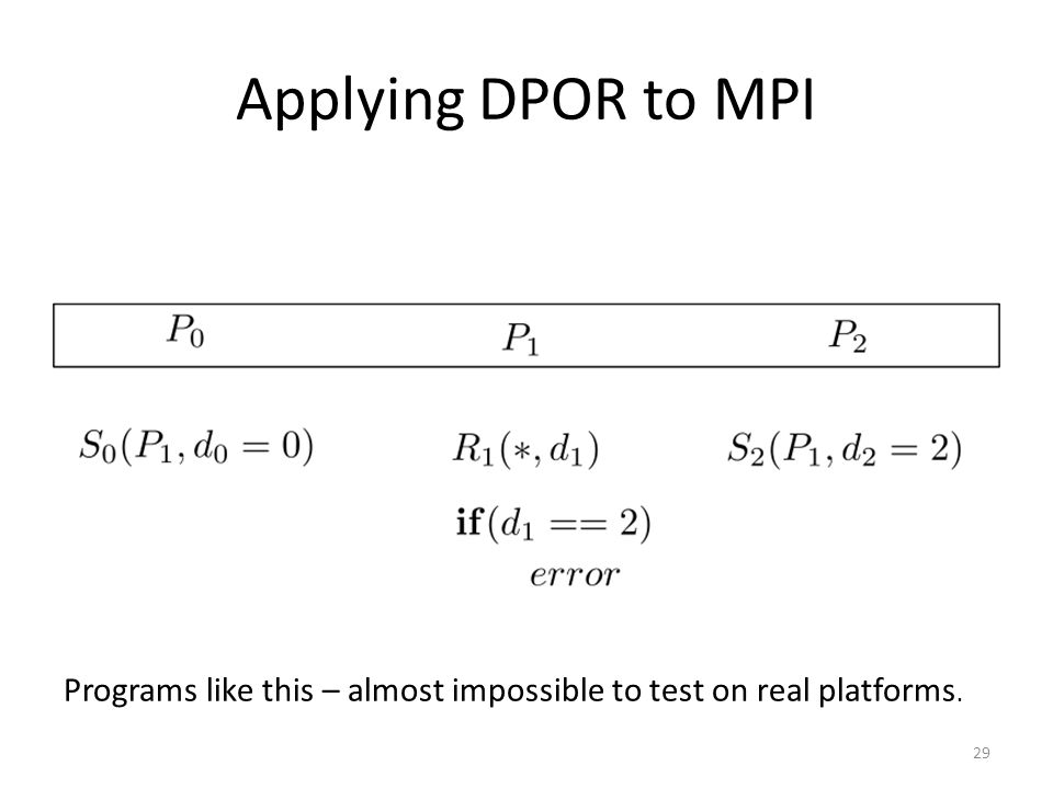 Applying DPOR to MPI 29 Programs like this – almost impossible to test on real platforms.