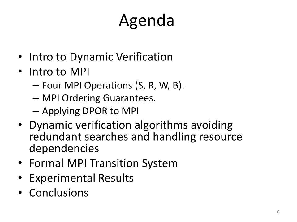Agenda Intro to Dynamic Verification Intro to MPI – Four MPI Operations (S, R, W, B). – MPI Ordering Guarantees. – Applying DPOR to MPI Dynamic verifi