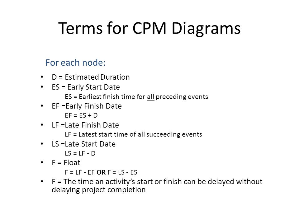 Terms for CPM Diagrams D = Estimated Duration ES = Early Start Date ES = Earliest finish time for all preceding events EF =Early Finish Date EF = ES + D LF =Late Finish Date LF = Latest start time of all succeeding events LS =Late Start Date LS = LF - D F = Float F = LF - EF OR F = LS - ES F = The time an activity's start or finish can be delayed without delaying project completion For each node: