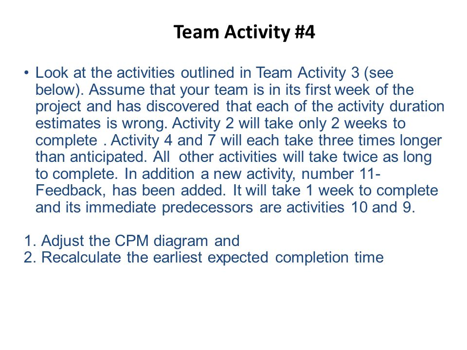 Team Activity #4 Look at the activities outlined in Team Activity 3 (see below).