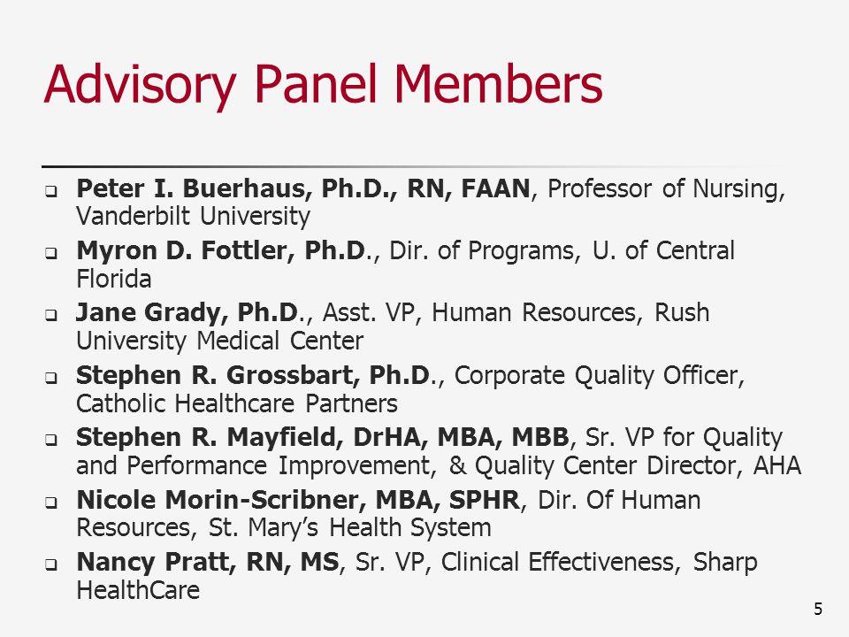 Advisory Panel Members  Peter I. Buerhaus, Ph.D., RN, FAAN, Professor of Nursing, Vanderbilt University  Myron D. Fottler, Ph.D., Dir. of Programs,