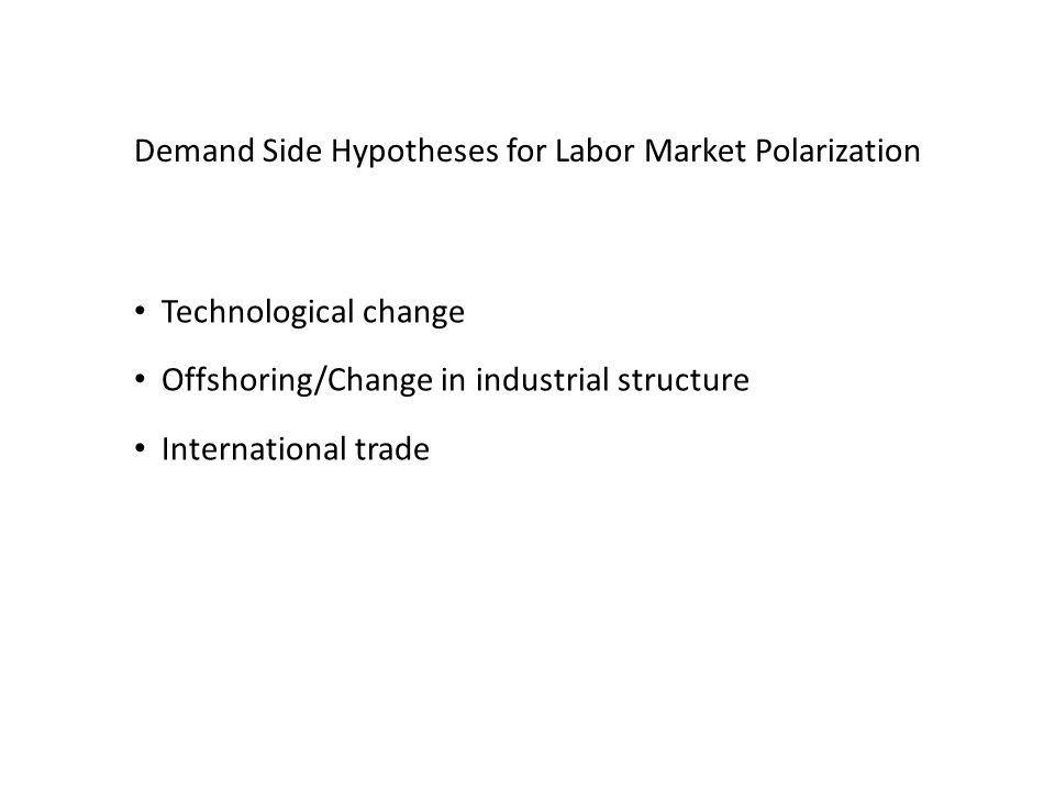 Demand Side Hypotheses for Labor Market Polarization Technological change Offshoring/Change in industrial structure International trade