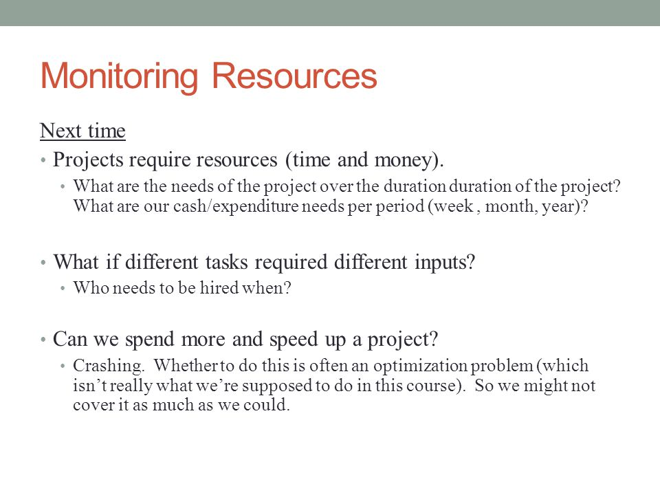 Monitoring Resources Next time Projects require resources (time and money).