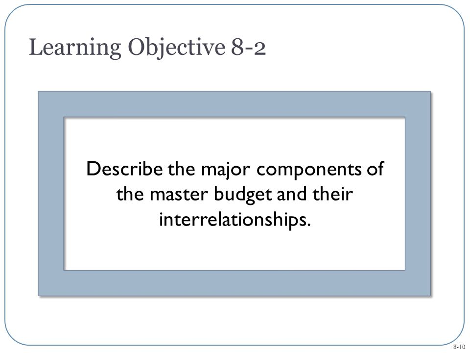 8-10 Describe the major components of the master budget and their interrelationships.